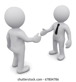 "Two 3D business man in ties shake hands on a white background. Series ""3D MAN"""