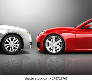 Two 3D Cars in Frontal Crash