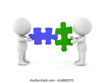 Two 3D Characters with compatible puzzle pieces. Image conveying compatibility of any kind.