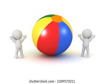 Two 3D characters with a large colorful beach ball. Isolated on white background.