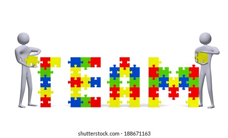 Two 3d people assembling team text of multicolor puzzle pieces