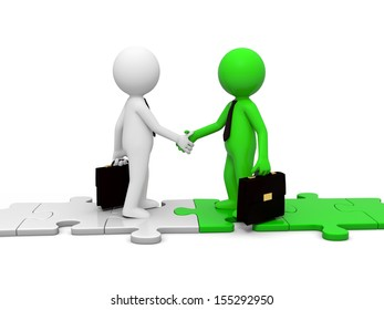 Two 3d people shaking hands on puzzle pieces