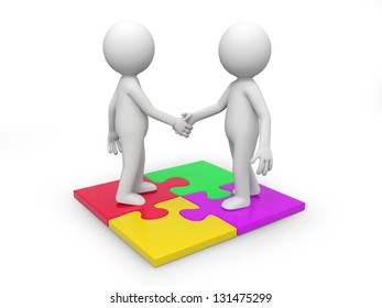 Two 3d people standing a puzzle, hands shaking