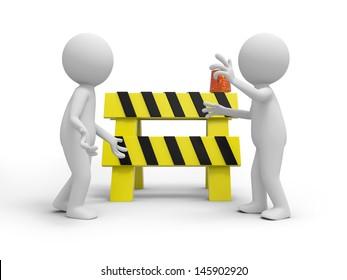 Two 3d people talking, a roadblocks background