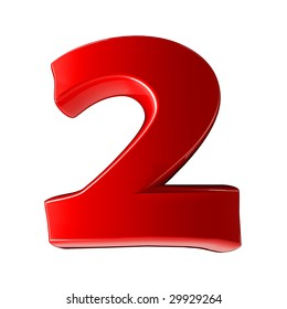 Two - 3d red plastic number