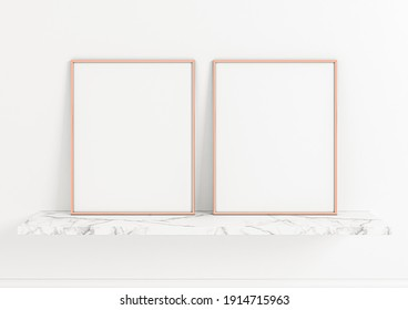 Two 8x10 vertical rose gold frame mockups. Double Rose Gold frame poster on a marble shelf and clean white wall. 3D illustration.