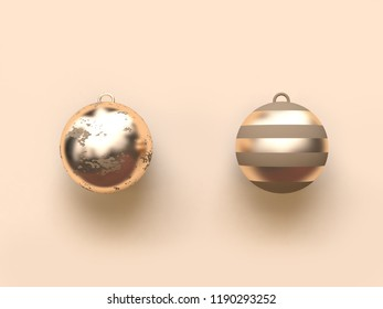 two abstract gold christmas ball 3d rendering