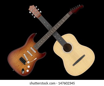 two acoustic and electric guitars isolated on black background