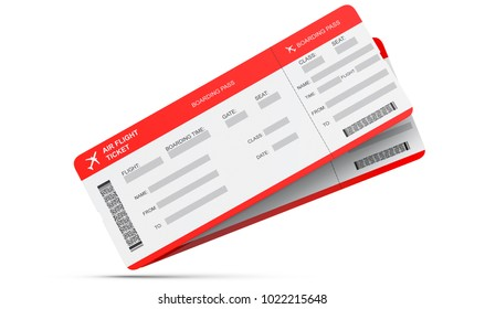 Two airline boarding pass tickets isolated on white. 3d rendering.