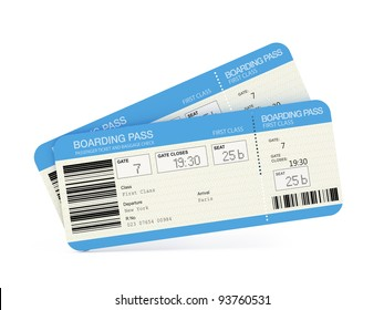 Two airline boarding pass tickets isolated on white