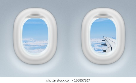 two airplane or jet windows