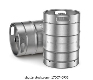 Two aluminum beer kegs with red lid isolated on white background. 3D illustration