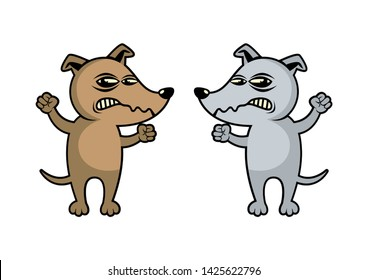 Two Angry Dogs cartoon character. Rabid Dog icon. Brown Dog cartoon character. Angry Dog isolated on a white background. Gray and brown dog clip art