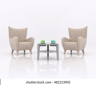 Two armchairs facing each other on opposite between the tea table with two cup in different colors, in white abstract scene with a reflective floor. Business concept opinion exchange, 3d rendering