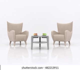 Two armchairs facing each other on opposite between the tea table with two cup in different colors, in white abstract scene with a reflective floor. Business concept of negotiations, 3d rendering
