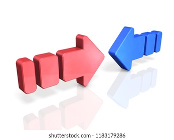 Two arrows pushing each other. It represents two opposing forces. 3D illustration