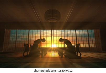 Two Asian Businessmen Bow in meeting room rendered by computer graphic 3d.