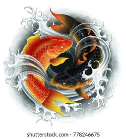 Two asian Koi carps black and red with water flow. Digital painting.