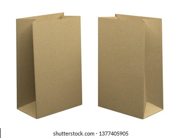 two Bags of recycled kraft paper, isolated on white background. Mockup for design. 3D Rendering