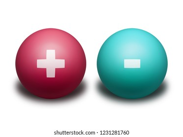 Two balls representing the opposite electric charges isolated on white background