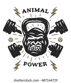 Two barbell and head gorilla weight. Athletic emblem, poster, t shirt design. Illustration vector copy.
