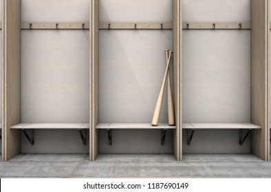 Two baseball bats in a wooden cubicle with a bench and hangers in a sports locker change room - 3D render