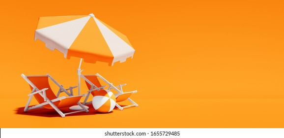 Two beach chairs with parasol on lush orange summer background 3D Rendering, 3D Illustration