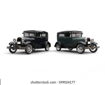 Two beautiful 1920s vintage cars - side by side - 3D Illustration