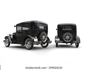 Two beautiful 1920s vintage cars - side by side - back view - 3D Illustration