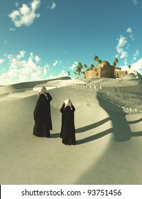 Two bedouin women walking in Oasis dessert