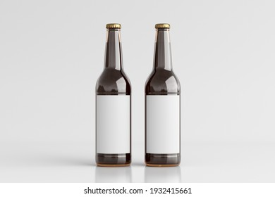 Two beer bottles 500ml mock up with blank label on white background. Front view. 3d illustration