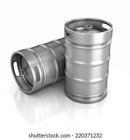 two beer kegs 3d illustration