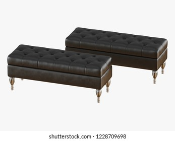 Two bench capitone black 3d rendering