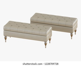 Two bench capitone ivory color 3d rendering