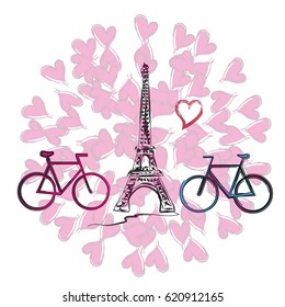 Фотообои Two bicycles on the background of the Eiffel Tower, drawing