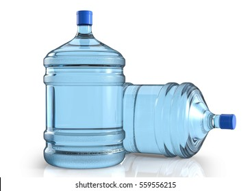 Two big plastic barrel, gallon bottle for office water cooler. 3D render, isolated on white background.