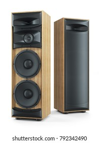 Two big tower sound speakers Hi-Fi stereo system. Objects isolated on white background 3d