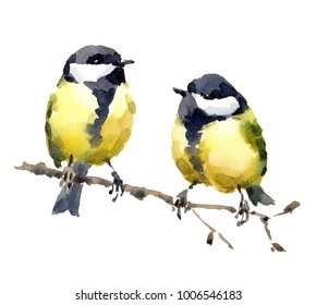 Two Birds Chickadees Watercolor Hand Painted Illustration Set isolated on white background