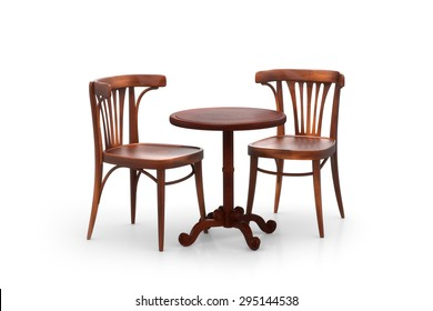 Two bistro chairs with table