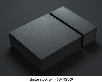 Two Black Boxes Mockup, different sizes, 3d rendering