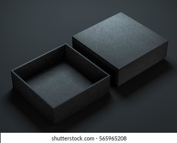 Two Black Boxes Mockup, opened and closed, 3d rendering