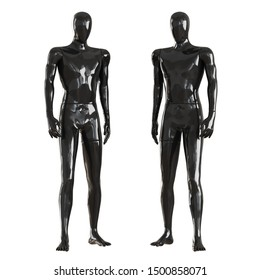 Two black faceless mannequin guys stand frontally. Isolated on a white background. 3D rendering