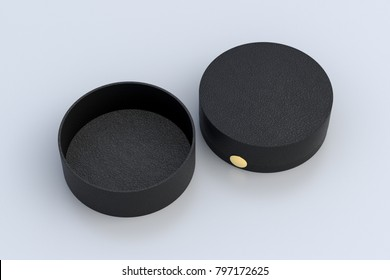 Two black leather round boxes opened and closed on white background. 3d illustrtion