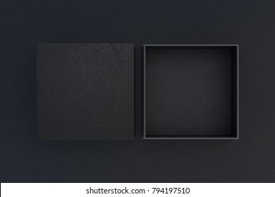 Two black leather square boxes opened and closed on black background. 3d illustration