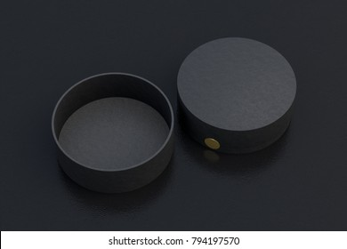Two black round boxes opened and closed on black background. 3d illustrtion