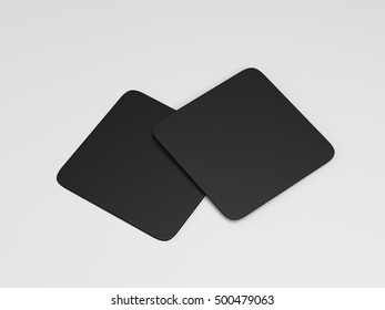 Two black square beer coasters 3d rendering