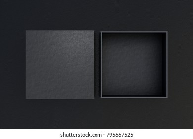 Two black square boxes opened and closed on black background. 3d illustration