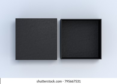 Two black square boxes opened and closed on white background. 3d illustration