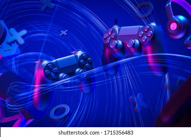 Two black video game controllers for the console. Headphones, virtual reality glasses on a blue background with lines. The concept of a game for two. 3d rendering