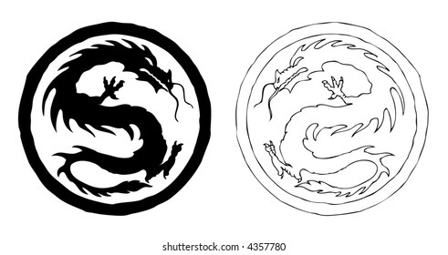 Two black and white fierce china dragons